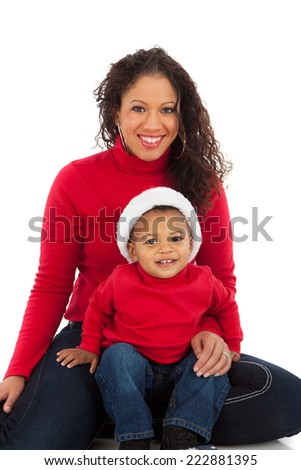 Smiling African American Mom and Boy Wearing Christmas Outfits Portrait on White Background Wearing Holiday Red - stock photo