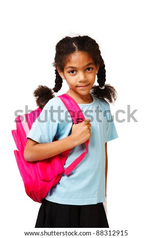 Smiling african american student  with a pink backpack
