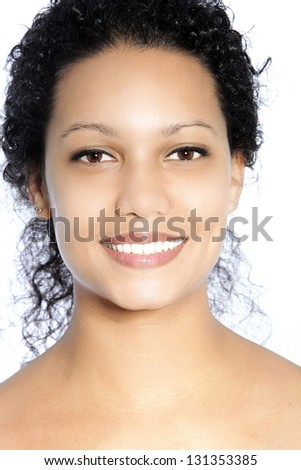 Smiling African American woman with black curly hair - stock photo