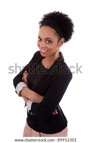 Smiling african american woman with folded arms, isolated on white background