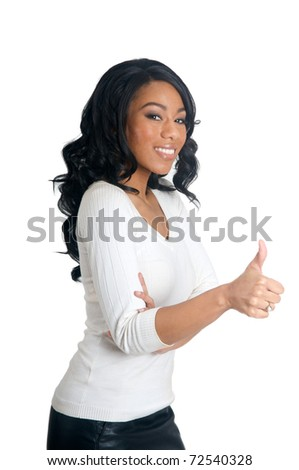 Smiling African American Woman with thumbs up gesture - stock photo