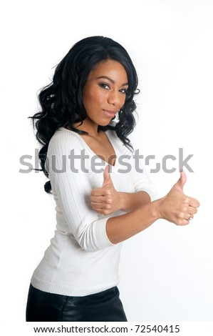Smiling African American Woman with two thumbs up gesture - stock photo