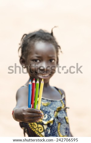 Smiling African Black Girl Education Symbol - stock photo