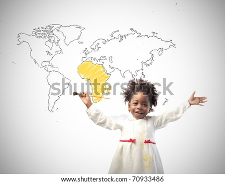 Smiling african little girl with drawing of the world on the background - stock photo