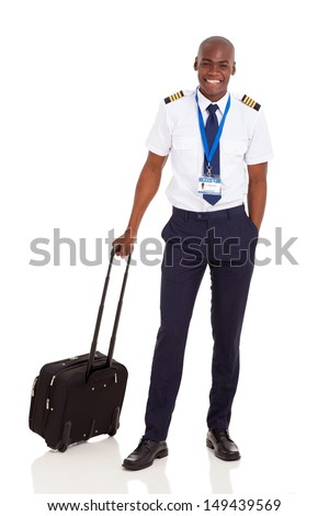 smiling african pilot with briefcase isolated on white - stock photo