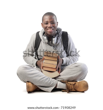 Smiling african student - stock photo