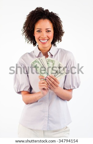 Smiling Afro-American businesswoman showing dollars to the camera