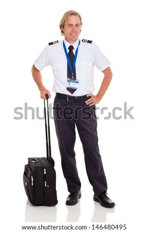 smiling airline pilot with briefcase isolated on white - stock photo