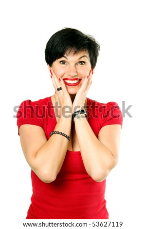 Smiling amused woman looking up - stock photo