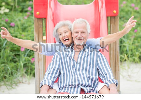 Smiling an d happy senior couple at the beach - stock photo