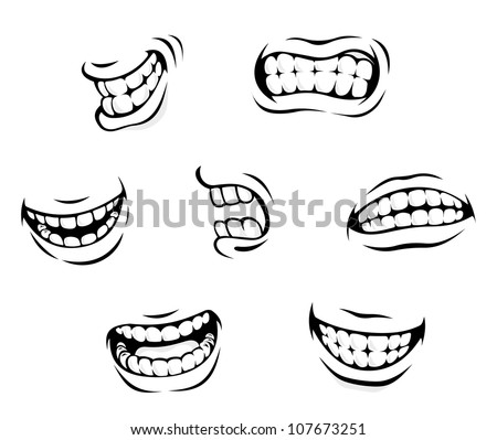 Smiling and angry cartoon teeth isolated on white background. Vector version also available in gallery - stock photo