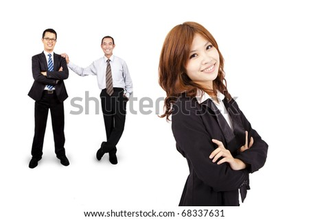 Smiling and confident Asian business woman and success business team - stock photo