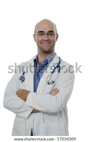 smiling and confident bald Doctor isolated on white