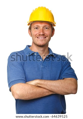 smiling and confident manual worker portrait isolated on white background - stock photo