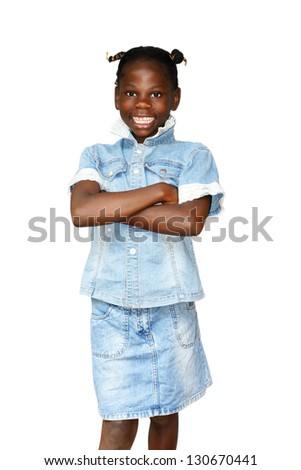 Smiling and happy young African girl isolated on white