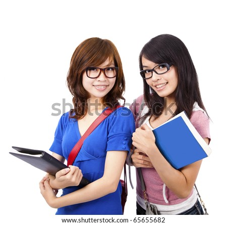 Smiling and pretty girl and student - stock photo