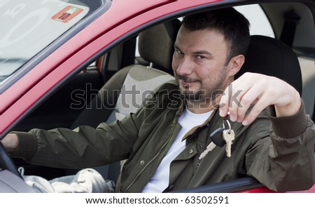 Smiling and Satisfied Customer with his Brand New Car - stock photo