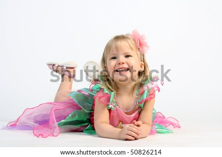 Smiling and very cute fairy ballerina girl - stock photo