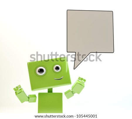 Smiling android with idea board/Robot tho '