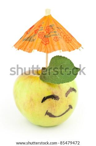 Smiling apple on white. Concept - stock photo
