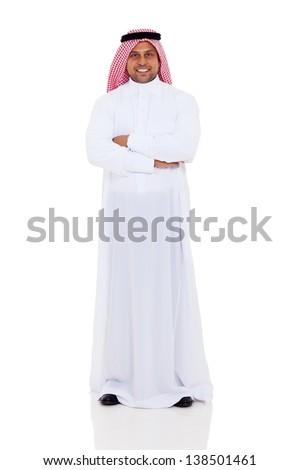 smiling arabian man full length portrait isolated on white background - stock photo