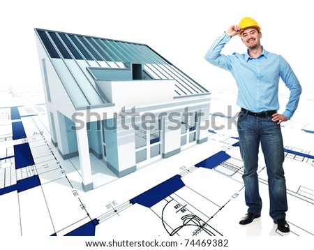 smiling architect and fine 3d house model background