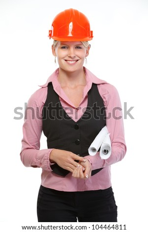 Smiling architect woman with flip charts - stock photo