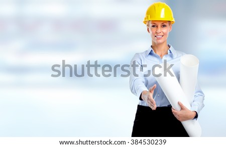 Smiling architect woman with handshake. - stock photo