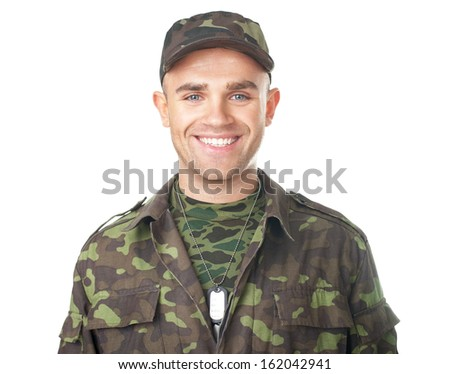 Smiling army soldier isolated on white background - stock photo
