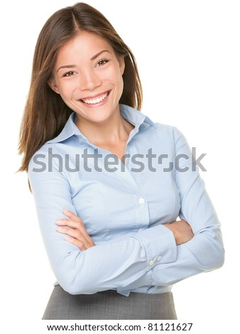 Smiling Asian Caucasian Business Woman. Businesswoman in blue shirt smiling looking at camera. Beautiful young mixed race woman professional isolated on white background. - stock photo