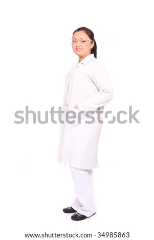 Smiling asian doctor over white background - stock photo