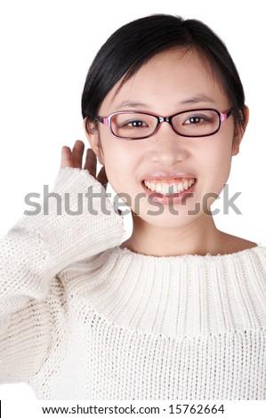 Smiling asian girl isolated on white - stock photo