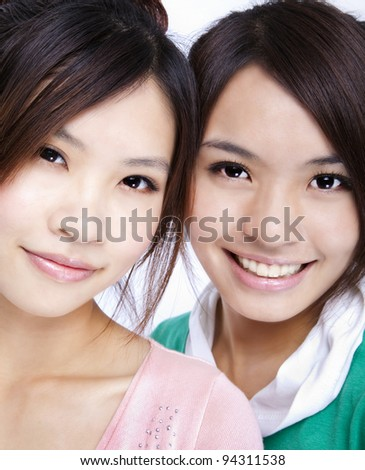 smiling asian girls - stock photo