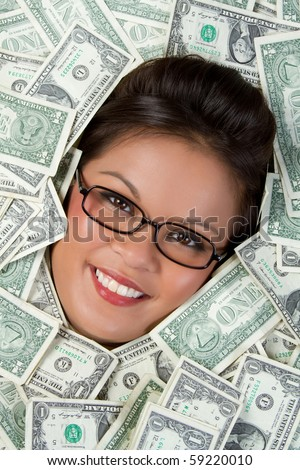 Smiling asian woman in money