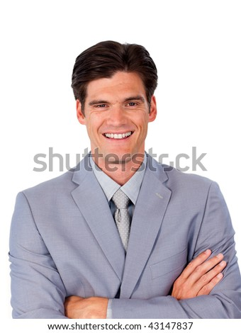 Smiling assertive businessman with folded arms against a white background