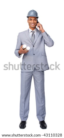 Smiling attractive architect on phone isolated on a white background