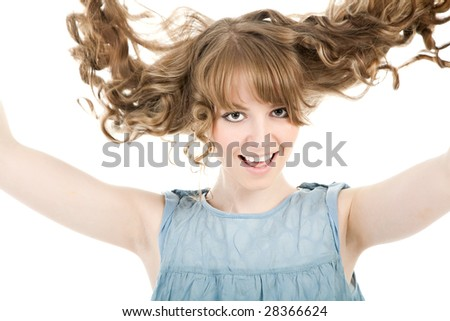Smiling attractive blonde over white - stock photo