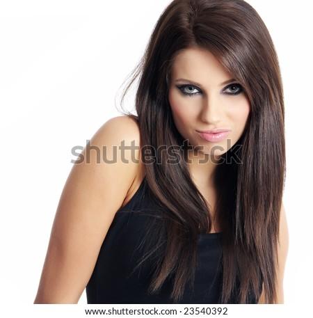 Smiling attractive girl in black. - stock photo
