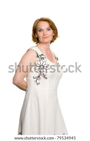 Smiling attractive middle aged woman. Isolated on white. - stock photo