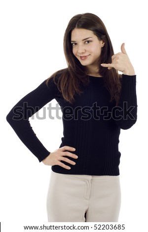 Smiling attractive woman making a call me gesture isolated over white background