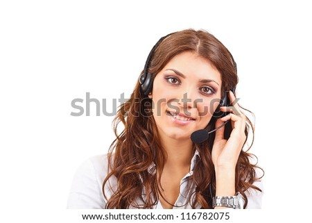Smiling attractive woman with headphone isolated against white background - stock photo
