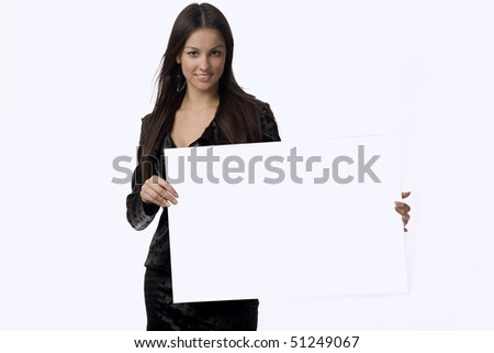 Smiling attractive young business-woman is holding a poster - stock photo
