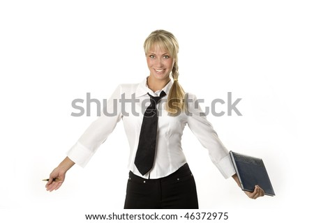 Smiling attractive young businesswoman is holding a notebook and a pen. - stock photo