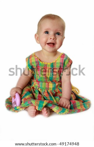 Smiling baby-girl, isolated on white