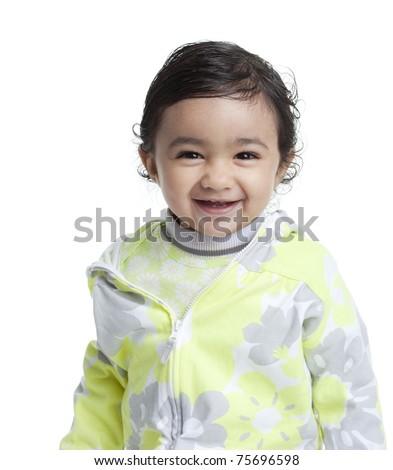 Smiling Baby Girl, Isolated, White - stock photo