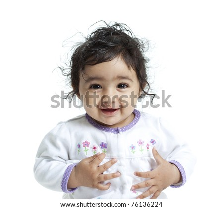 Smiling Baby Girl, Isolated, White - stock photo