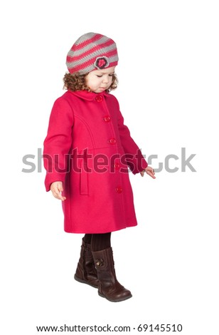 Smiling baby girl with pink coat isolated over white background - stock photo