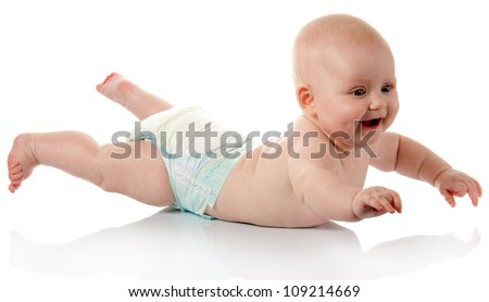 Smiling baby in diaper isolated on white - stock photo