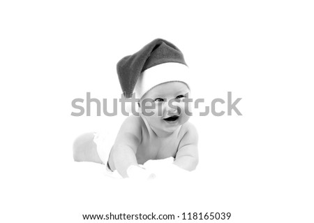 Smiling Baby in New Years hat isolated on the white