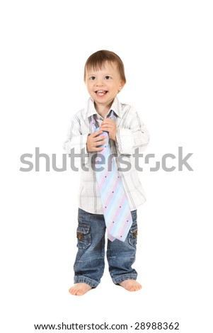 smiling baby in shirt with necktie - stock photo